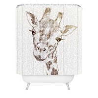 Belle13 The Intellectual Giraffe Shower Curtain
