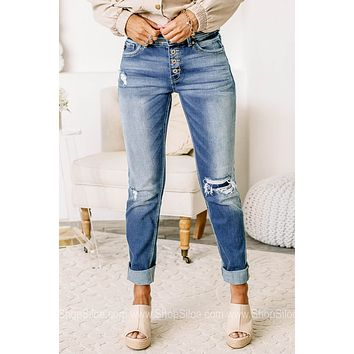 The Angie Button Up Straight Fit Jeans