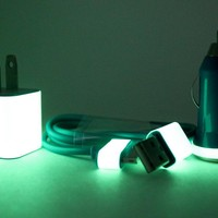 Blue iPhone Charger with Glow in the Dark Trim (wall plug and car adapter compatible with iPhone 5)