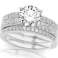 Amazon.com: 1.25 Carat Channel Set Designer Diamond Engagement Ring with 3 Three Rows of Prong and Channel Set Diamonds with a 3/4 Carat Center (w/o Matching Wedding Band): Jewelry