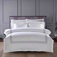 60S Egypt Cotton Embroidery White Color King Queen size Bedding sets Hotel Luxury Bed set Duvet cover set Bedsheet Linen
