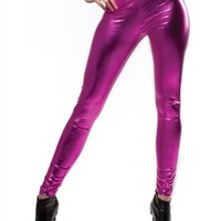Metallic Fuschia Leggings : Comfortable Legging Pants