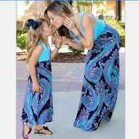 2017 Family Matching Outfits Mother And Daughter Sun Dresses Baby Girls Printed Clothes For Kids Parents Summer Look