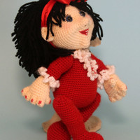 Doll Soft toy. Crochet sweet doll. Black hair. Red bow and suit. 5 ways jointed. gift for girl