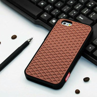 Vans Off The Wall Shoes Sole Soft Rubber Silicone Brown With Black Cover Case For iPhone 6 Plus/6s Plus