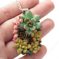 Green Pink Succulent Necklace Pendant Metal basis medallion Pendant Jewelry Succulent wedding birthday gifts