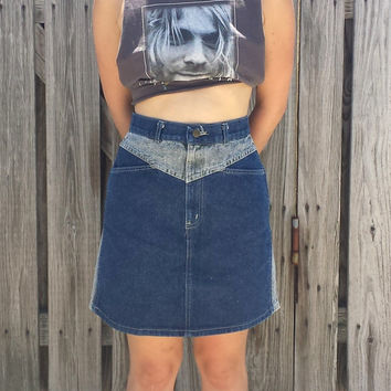 Vintage 80s High Waisted Denim Skirt by Chic - USA Made - 2 Toned Denim - Size S