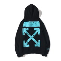 OFF- WHITE Fall And Winter Casual Loose Blue Arrow Hoodie