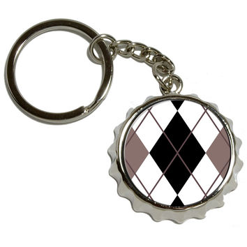 Argyle Hipster Black White Pop Cap Bottle Opener Keychain