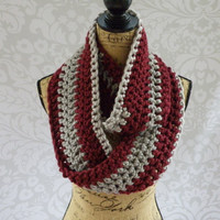 Ready To Ship Infinity Scarf Wine and Silver Women's Accessory Infinity Scarf OOAK One of a Kind