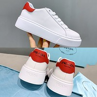 PRADA new product printed logo letter ladies platform casual shoes Red