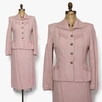 Vintage 40s Pink Wool Suit / 1940s Pale Pink & Subtle Gray Woven Wool Tailored Blazer Jacket Pencil Skirt