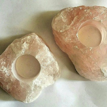 Natural, Rough, Gemmy ROSE QUARTZ Tealight Candle Holder - Altar - Sacred Space - Metaphysical - Love Stone - Crystal Therapy - Home Decor
