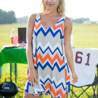 What's Up And Down Dress, Orange-Blue