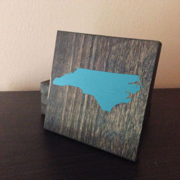 Customizable North Carolina Wood Coasters, Set of 4, Stained and Hand Painted, Personalize, Home decor