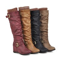 Buckle Belt Wedges Tall Boots Woman Shoes