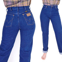 Vintage 90s High Waisted Wrangler Blue Jeans - Size 8 - Straight Leg Faded Medium Blue Denim Cowgirl Dungarees