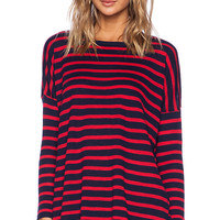 SUNDRY Striped Cashmere Crew in Navy