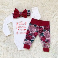 US Newborn Infant Baby Girls Clothes Tops Romper Floral Pants Fall Outfit 0-18M