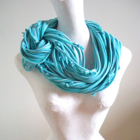 Tropical Blue Chunky Cowl Scarf Upcycled Clothing Gorgeous Turquoise Blue Stripes Winter Infinity Scarf Recycled Fall Fashion Gifts Under 75