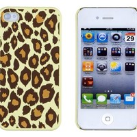 Pistachio Green Leopard Embossed Hard Case for Apple iPhone 4, 4S (AT&T, Verizon, Sprint)