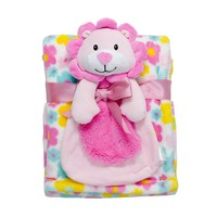 Baby Gear Big Face Animal Squeaker Buddy & Blanket Set - Baby Neutral