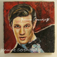 Dr Who Sci Fi acrylic canvas miniature 3x3 inch painting  OOAK