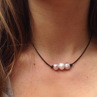 Triple Freshwater White and Pink Pearl Leather Choker