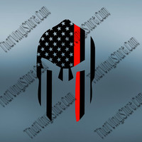 Spartan Helmet Back the Red Flag Thin Red Line Vinyl Decal | Yeti Fire Decal | American Flag | Fire Red Lives Matter | Firefighter | 456