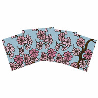 "Art Love Passion ""Cherry Blossom Day"" Floral Illustration Indoor/Outdoor Place Mat (Set of 4)"