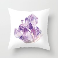 Amethyst Cluster Throw Pillow by Andrea Fairservice