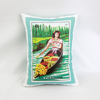 Chalupa (canoe/boat) Loteria Pillow Cover with Zipper - Linen Cotton Canvas - Mexican Chic, Day of the Dead, Dia de los Muertos
