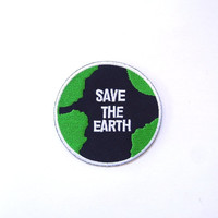 Save the Earth Applique Iron on Patch Size 7.4 cm