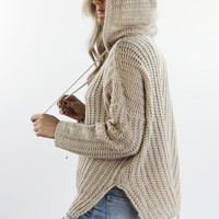 Always Will Taupe Knit Hoodie Pullover