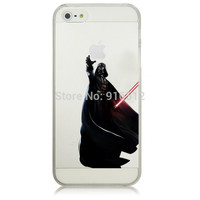 Star Wars Starwars Figure Super Cool Darth Vader Holding Logo Clear Plastic Case for iPhone 5 5S 6 6S