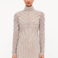 Missguided - Peace + Love Silver High Neck Long Sleeve Beaded Mini Dress