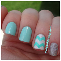 Large Pattern Chevron Nail Decals - YOU PICK COLOR - Set of 60 strips