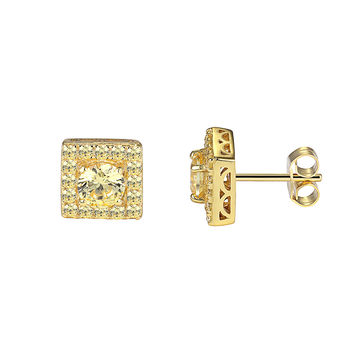 Iced Out Sterling Silver 14k Gold Finish Canary Stones Yellow Ruby Solitaire Earrings