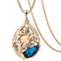 2016 Brand Long Necklace Gold Plated Popcorn Chain Austrian Crystal Jewelry Pendant Necklaces Women Gift Rose Flower Necklace