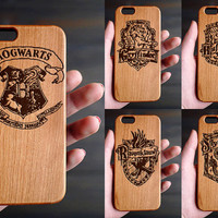 Hogwarts House Cherry Wood One Piece iPhone 6 6s Case , Custom iPhone 6s 6 Case Wood , Wood Phone Case for iPhone 6 6s  , Valentine's Gift