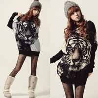 Korea Women Long Batwing sleeve Jumper Pullovers Tiger Print Sweater Top Blouse D_L