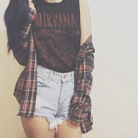 Mystery Hipster Grunge Outfit: High Waisted Shorts & Flannel Shirt & Tee- All Sizes