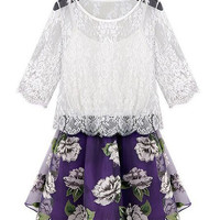 Plus Size Lace Embroidered Floral Print Scoop Neck Half Sleeve Two-Piece Dress