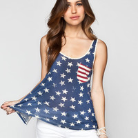Others Follow Be Free Womens Tank Red/White/Blue  In Sizes