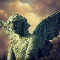 Angel Paris Cemetery Photograph - Print of Photo Canvas, Travel Photography, Pere Lachaise Cemetery, gothic statue, Catholic, Religious Art