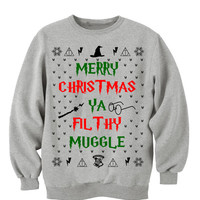 Grey Crewneck Merry Christmas Ya Filthy Muggle. Harry Potter Sweatshirt Sweater. Ugly Christmas Sweater. Home Alone. Christmas Vacation