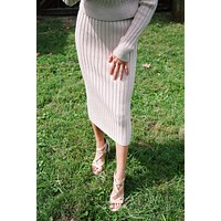 Broad Street Rib Knit Sweater Midi Skirt, Light Taupe