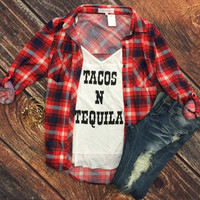What I like about you Plaid Flannel Top: Red/Navy