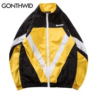 Trendy GONTHWID Vintage Color Block Patchwork Full Zip Up Windbreaker Jackets 2018 Autumn Fashion Casual Streetwear Jacket Coats AT_94_13