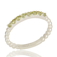 925 Sterling Silver Natural Peridot Gemstone Rope Stacking Ring